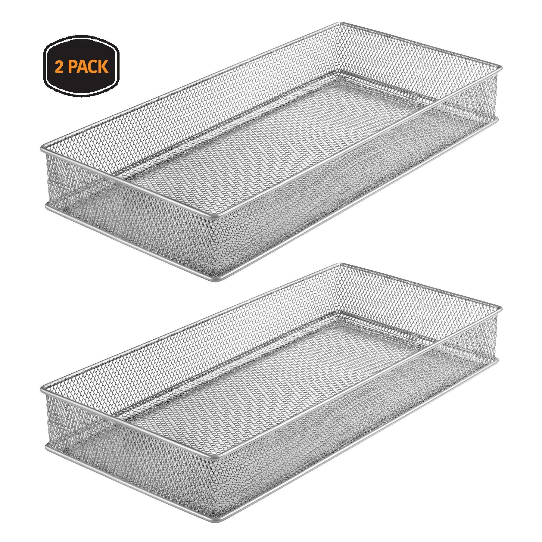 Ybm Home Silver Mesh Drawer Cabinet and or Shelf Organizer Bins, School Supply Holder Office Desktop Organizer Basket 1591s-2 (2, 6x12x2 Inch)