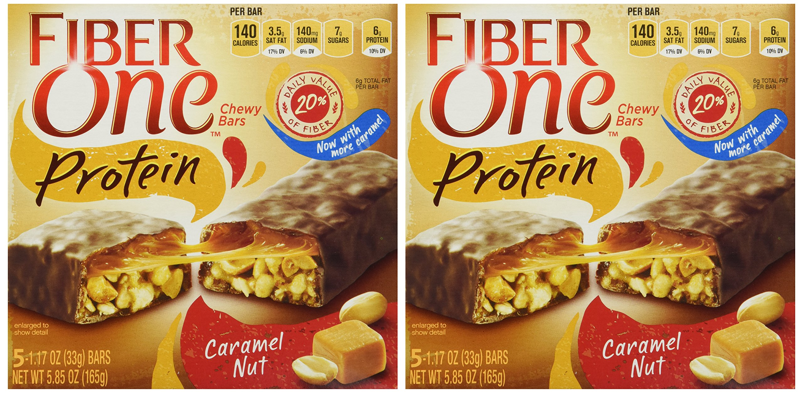 Fiber One Caramel Nut Chewy PROTEIN Bars Box of 5 Bars 5.85 Oz. (2 Pack)