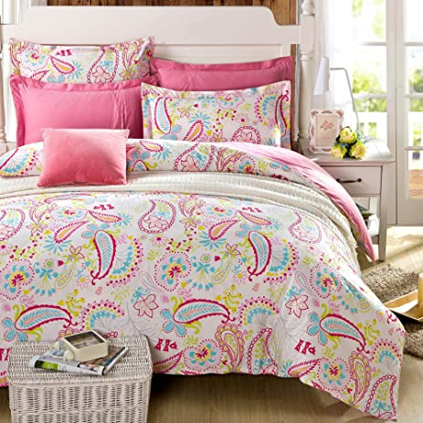 Amazon.com: Cliab Paisley Bedding Pink Twin Or Queen For Teen ... : teen quilt set - Adamdwight.com