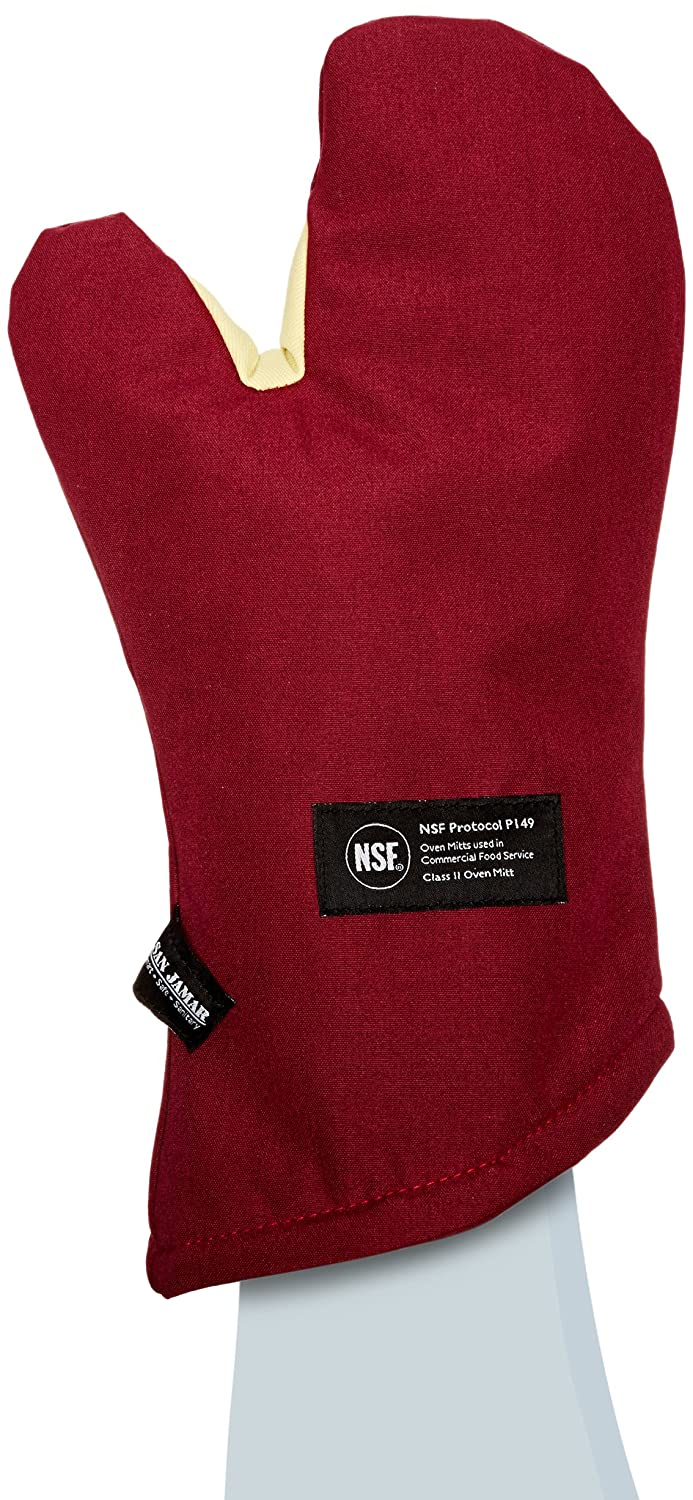 "San Jamar KT0215 Cool Touch Flame Conventional High Heat Intermittent Flame Protection up to 900°F Oven Mitt, 15"" Length, Red"