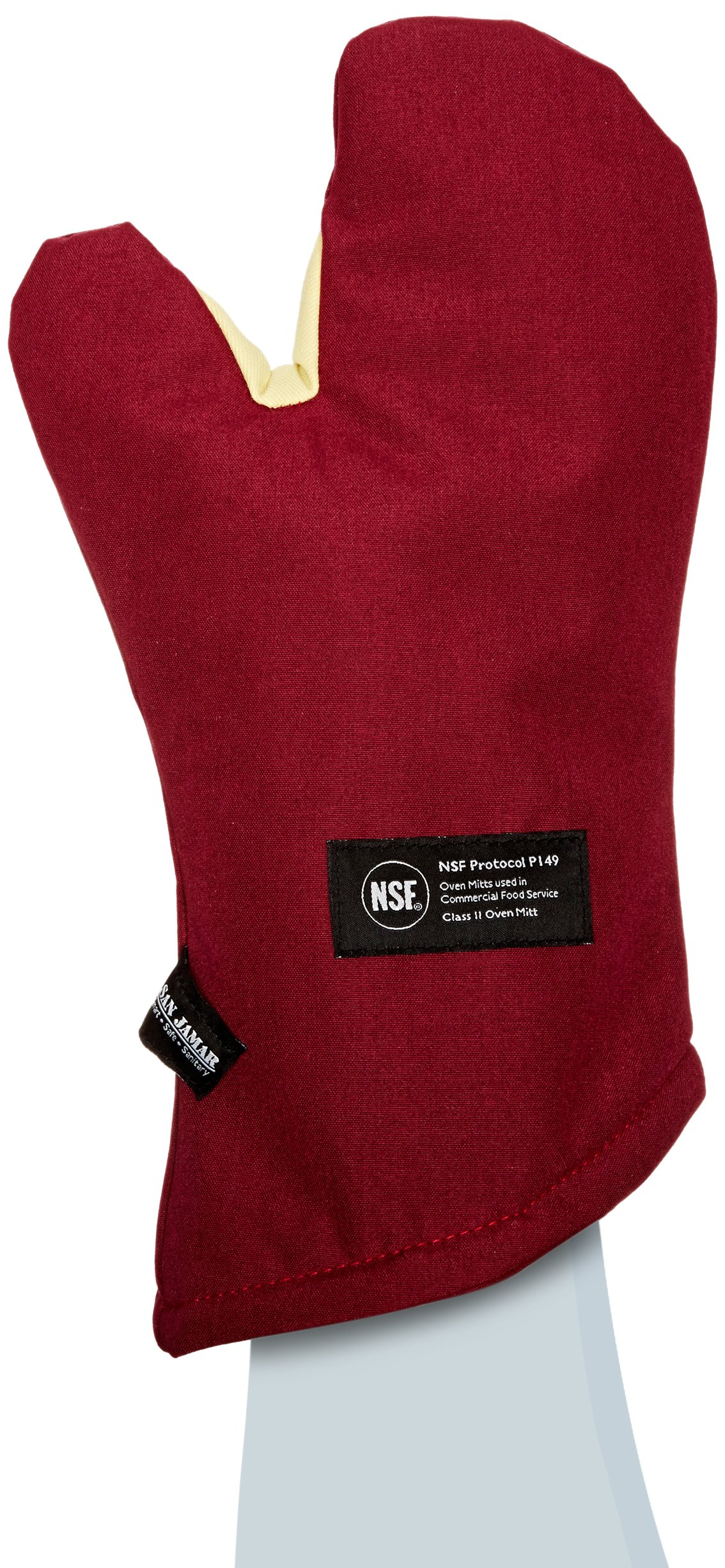 San Jamar KT0215 Cool Touch Flame Conventional High Heat Intermittent Flame Protection up to 900°F Oven Mitt, 15'' Length, Red by San Jamar