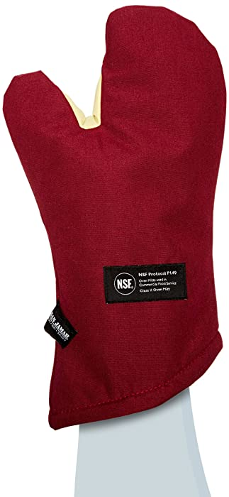 """San Jamar KT0215 Cool Touch Flame Conventional High Heat Intermittent Flame Protection up to 900°F Oven Mitt, 15"""" Length, Red"""