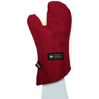 San Jamar KT0215 Cool Touch Flame Conventional High Heat Intermittent Flame Protection up to 900°F Oven Mitt, 15  Length, Red