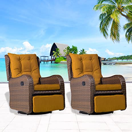 Cloud Mountain Set Of 2 Patio Wicker 360 Degree Swivel Gliding Rocking  Rattan Cushioned Chair Outdoor