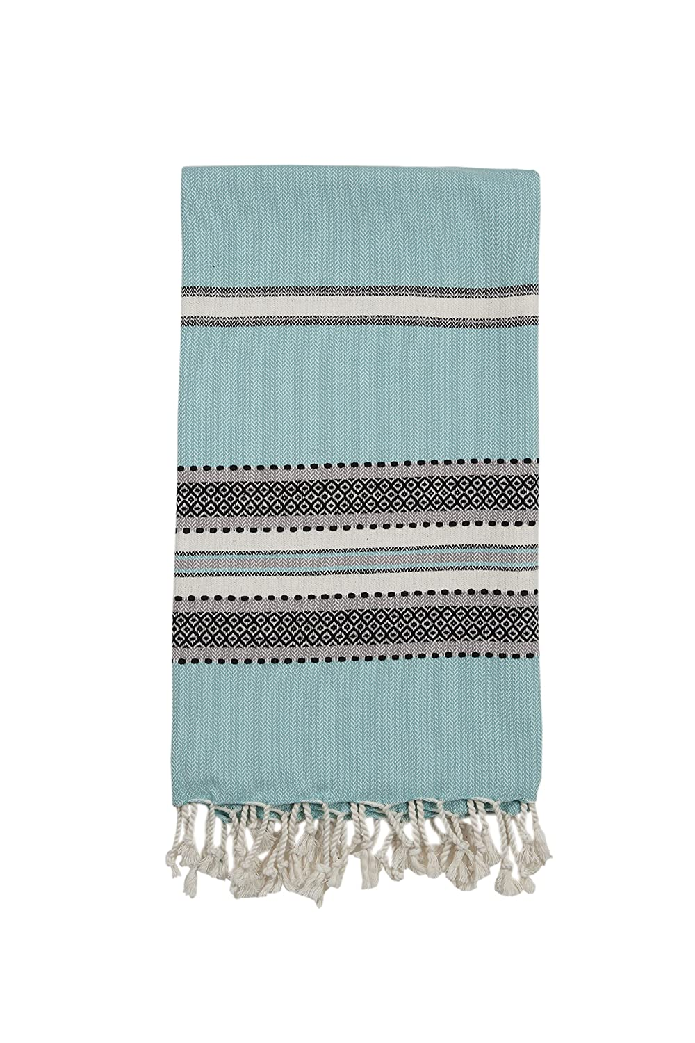 InfuseZen Large Turkish Towel Oversized Beach Or Bath Mint Blue And Black