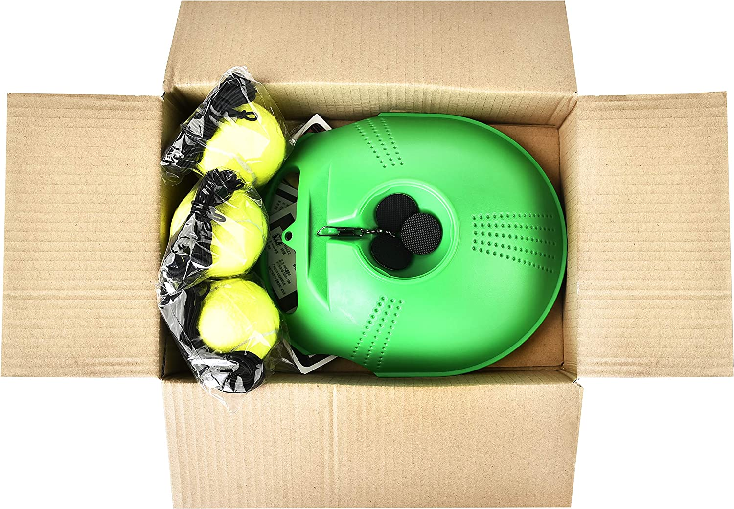 Base + 3 Balls │Anti Slippery Tennis Trainer Equipment│Perfect Practice for Beginners to Pros│Kids Tennis Training Set│Solo Tennis Trainer Green Color WHIZZ Tennis Self Training Tool