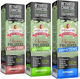 product image for My Magic Mud - Activated Charcoal Toothpaste Variety Pack, Natural, Whitening, Detoxifying, 4 oz, Peppermint, Wintergreen, Cinnamon Clove, (3-Pack)