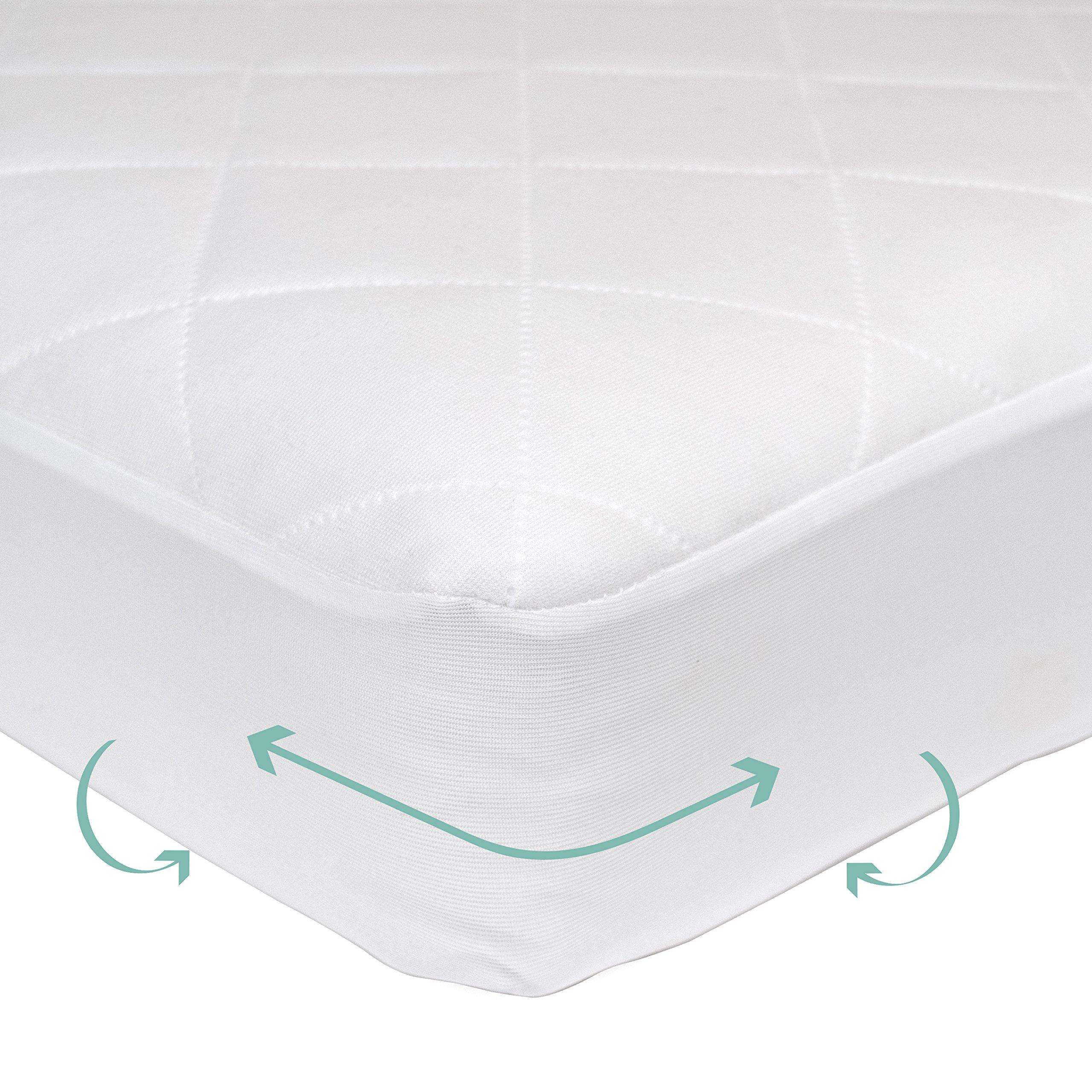 Kolcraft Baby Dri Waterproof Crib and Toddler Mattress Pad Cover, White, 52'' x 28''