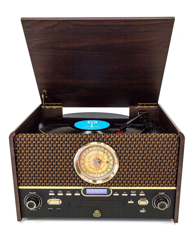 GPO Chesterton Dab Record Player Retro 7-in-1 Music Center con Tocadiscos de Vinilo Radio Dab Radio FM Entrada Auxiliar y Altavoces incorporados Reproductor de Cassette USB Reproductor de CD