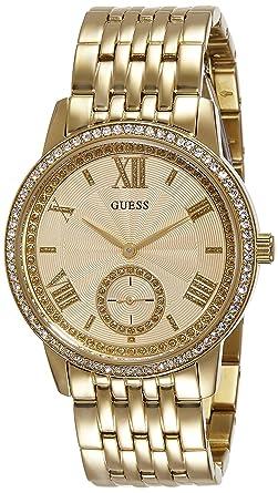 Montre Femmes Guess Quartz - Affichage Chronographe Bracelet Acier  Inoxydable Or et Cadran Beige W0573L2 63a930badec