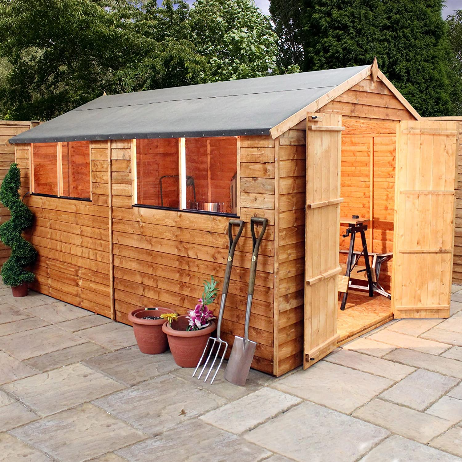 10x8 overlap wooden garden shed windows double doors apex roof felt by waltons amazoncouk garden outdoors