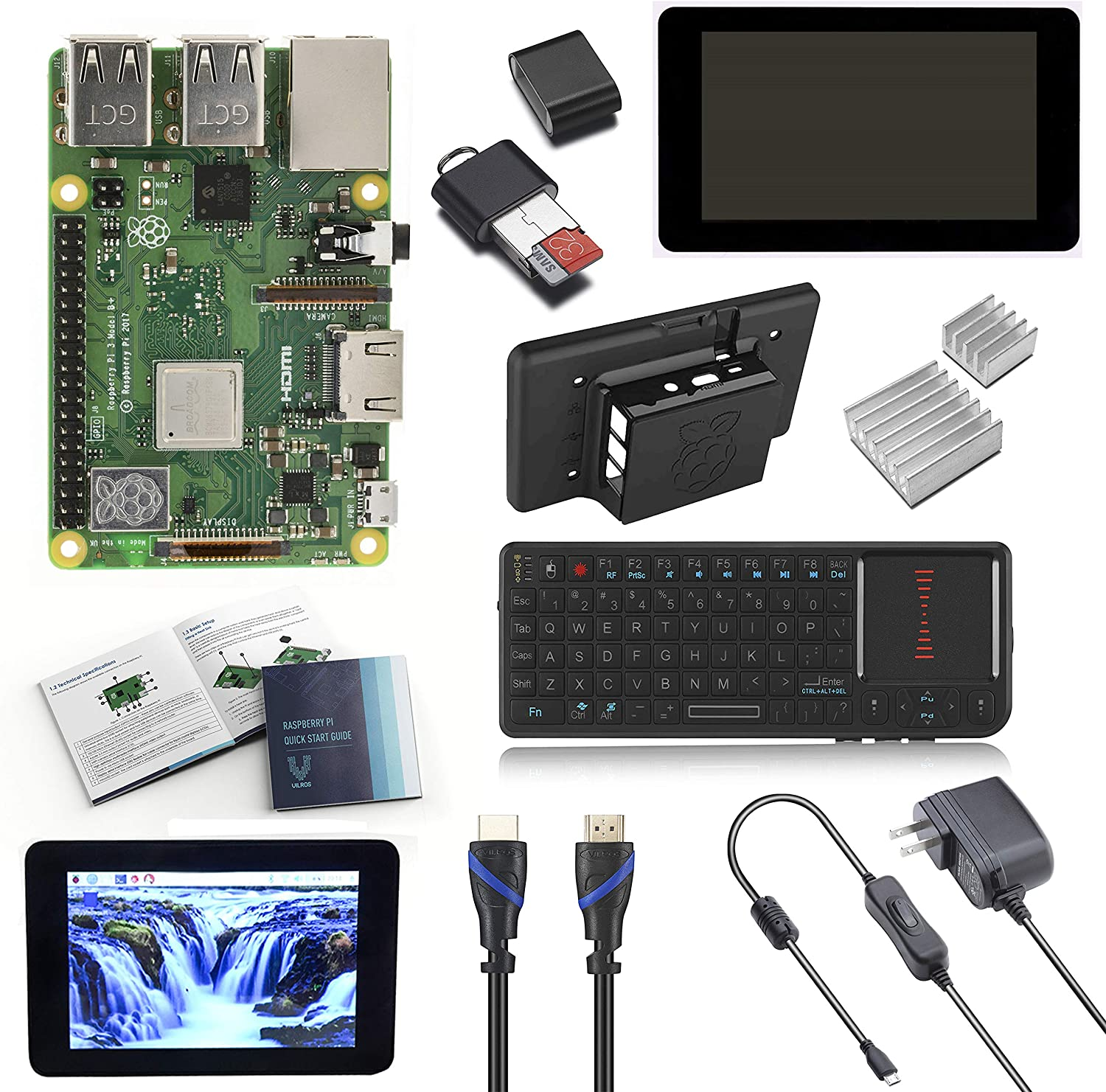 """V-Kits Raspberry Pi 3 Model B+ (Plus) Complete Starter Kit with 7"""" LCD Touchscreen Monitor & Mini Keyboard with Touchpad Combo"""