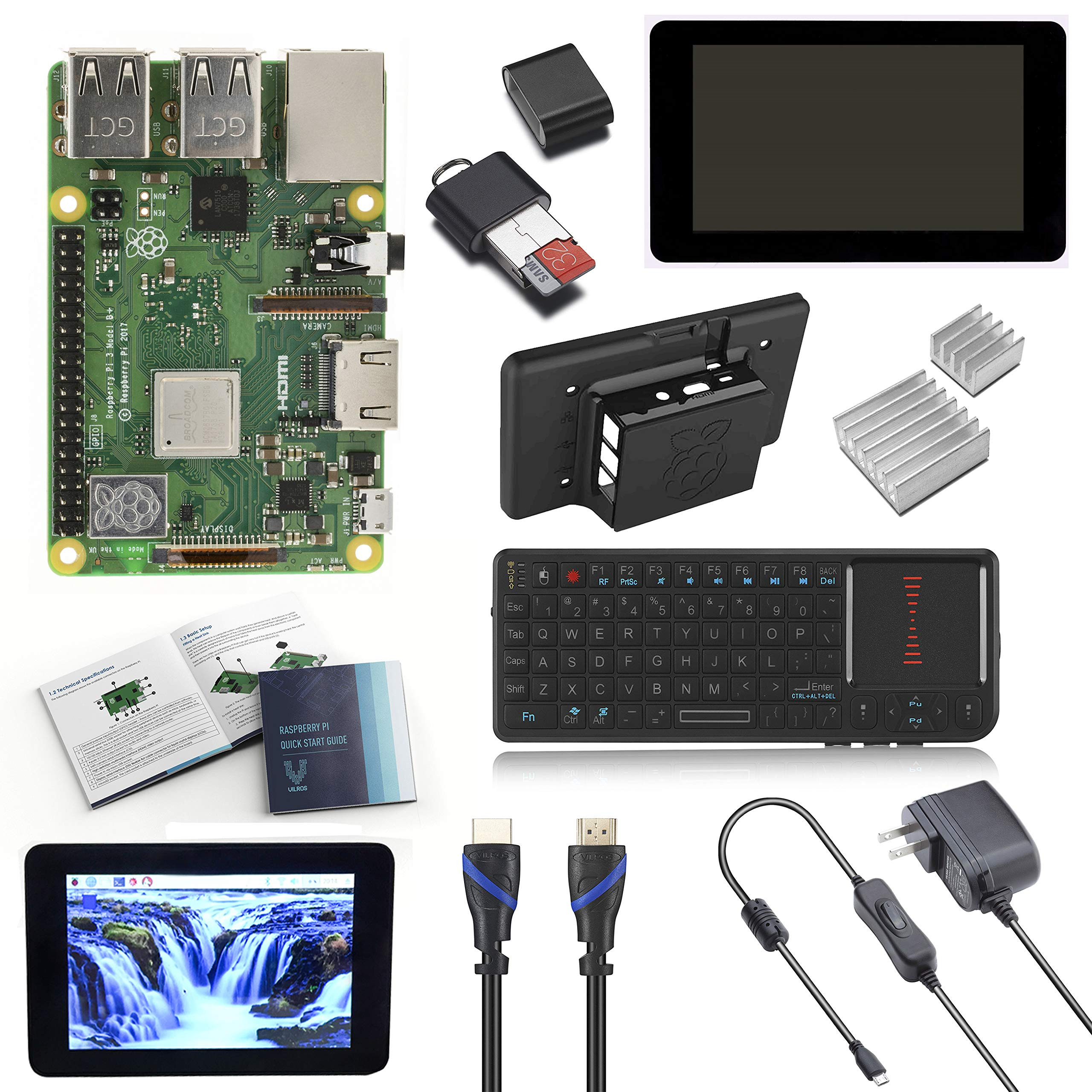 V-Kits Raspberry Pi 3 Model B+ (Plus) Complete Starter Kit with 7'' LCD  Touchscreen Monitor & Mini Keyboard with Touchpad Combo