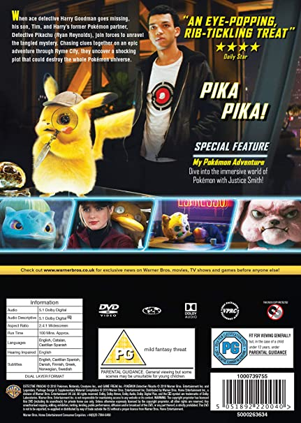 Pokémon Detective Pikachu [DVD] [2019]: Amazon co uk: DVD