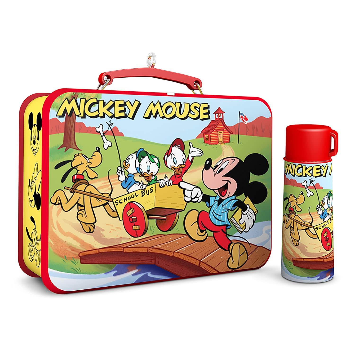2a057b804fec Hallmark Keepsake 2017 Disney Mickey and Friends Mickey Mouse Lunchbox and  Thermos Christmas Ornaments, Set of 2