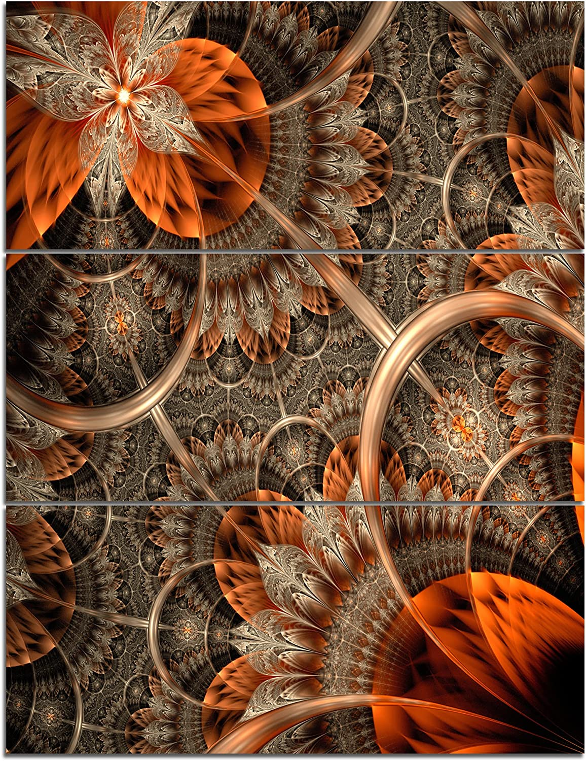 Amazon Com Designart Orange Brown Fractal Flower Large Floral Canvas Art Print 28x36 3 Piece 28 H X 36 W X 1 D 3p Home Kitchen