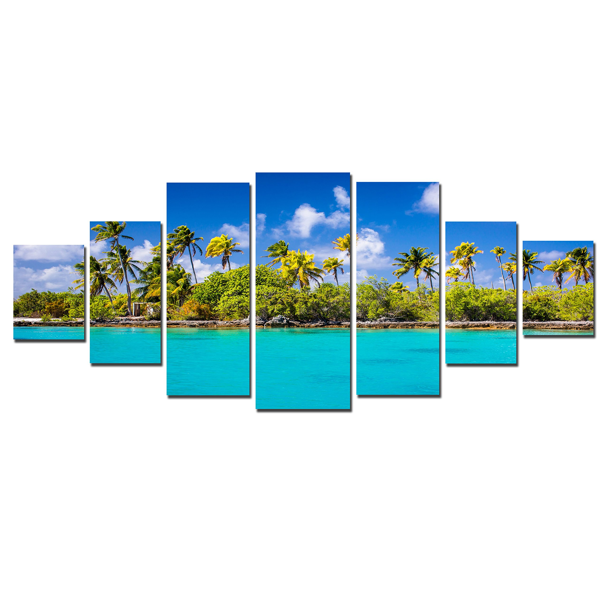Startonight Huge Canvas Wall Art Sunny Beach, USA Large Home Decor, Dual View Surprise Artwork Modern Big Framed Wall Art Set of 7 Panels Total 39.37 x 94.49 inch by Startonight