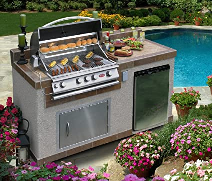 Cal Flame e6004 6\' Outdoor Kitchen Island with 4-Burner Built in Gril