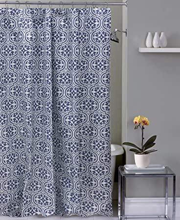 Navy Blue White Fabric Shower Curtain: Moroccan Floral Damask Design With  Hooks