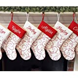 personalized christmas stocking red warm white classic whimsical design - Primitive Christmas Stockings