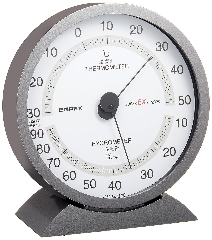 エンペックス気象計温度湿度計 スーパーEX メタリックグレーEX-2717