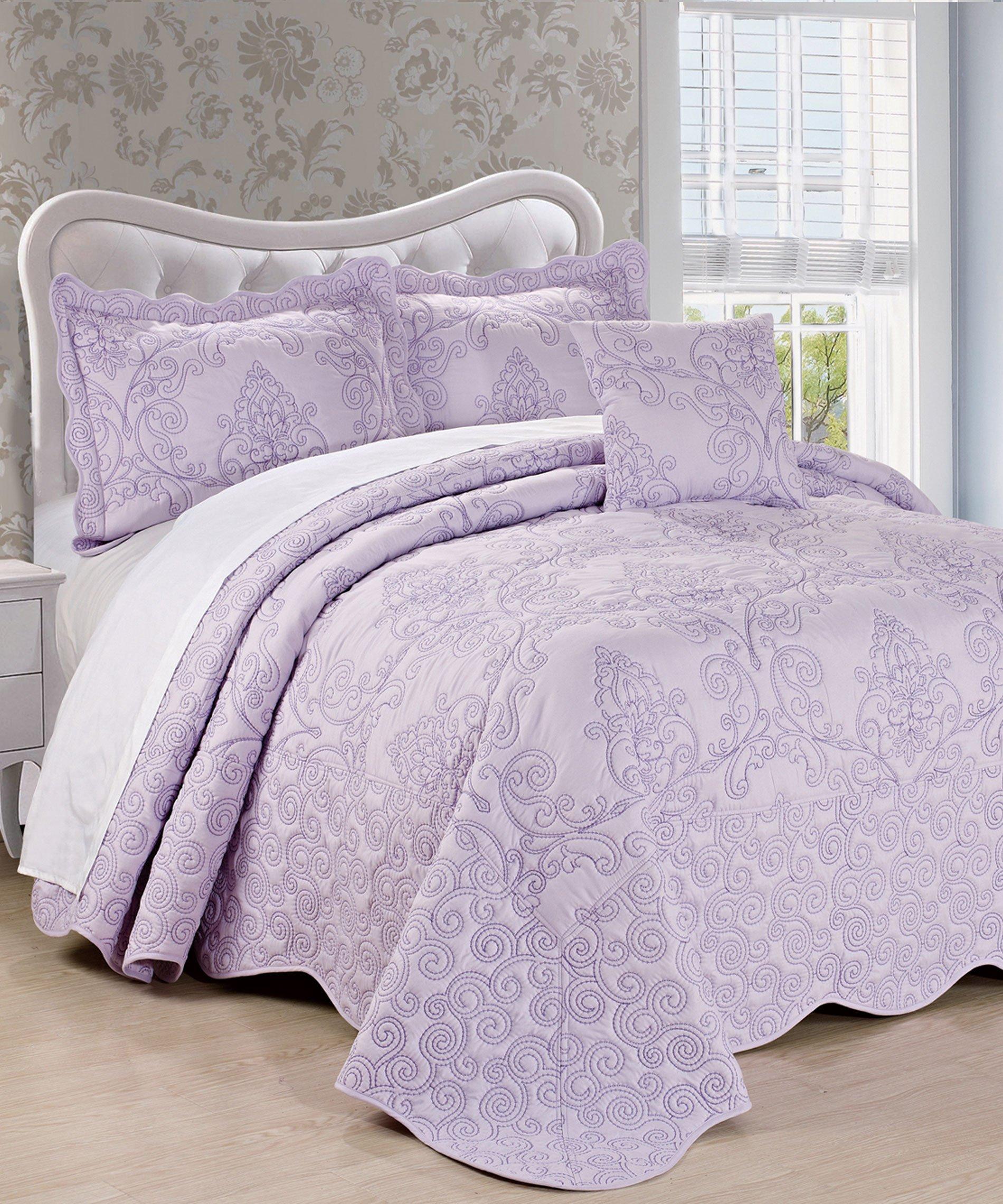 Serenta Damask 4 Piece Bedspread Set, King, Lavender Fog