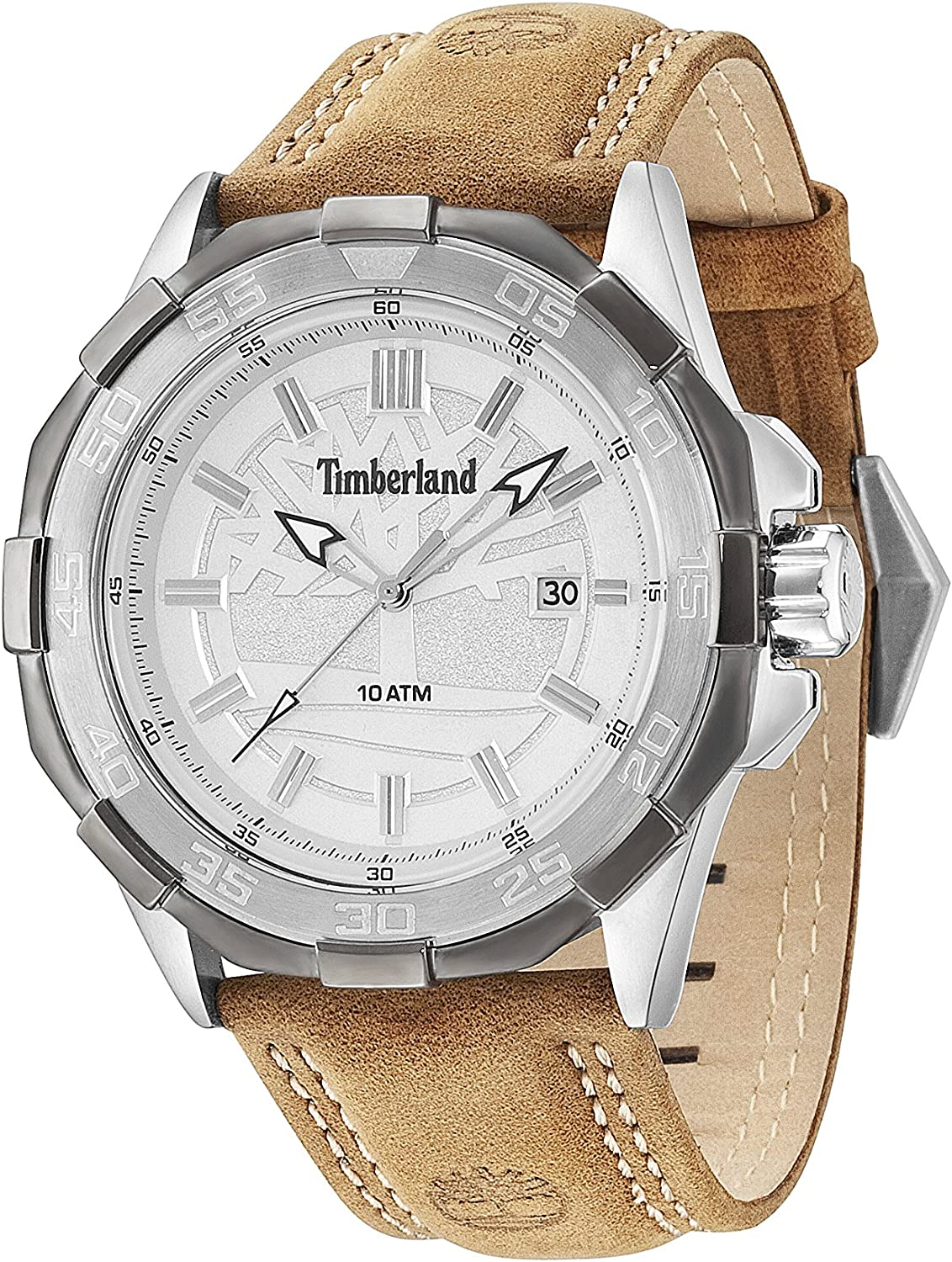 Hassy in secondo luogo Velo  Timberland Men's Quartz Watch with Silver Dial Analogue Display and Beige  Leather Strap 14098JSTU/04: Amazon.co.uk: Watches