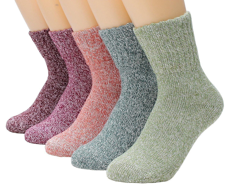 Patterned Thick Wool Socks Women Winter Warm Crew Knitetd Cute Socks Girls 5 PC Azue SOC10005AUUSD3