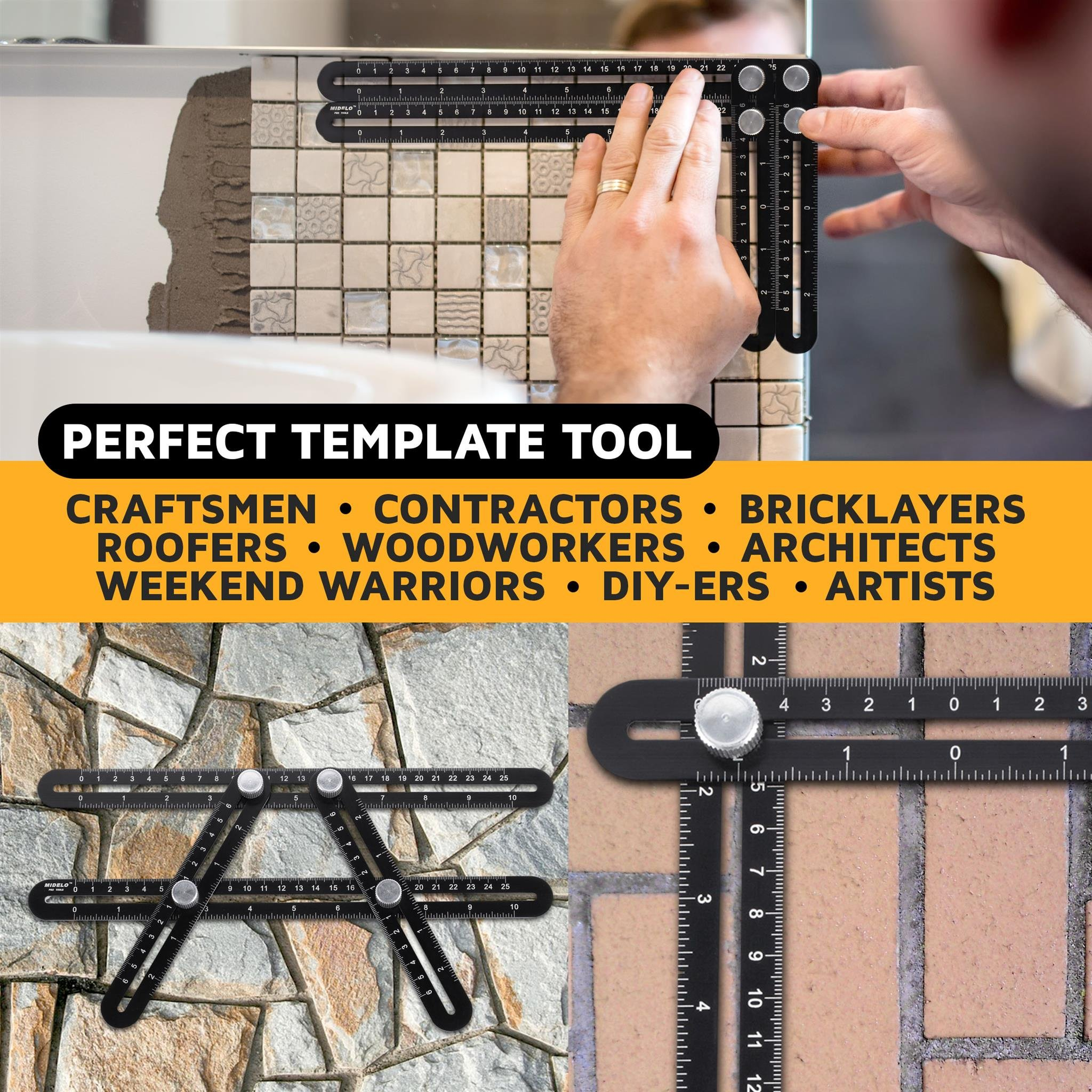AngleBuddy by Midelo | Aluminum Metal Angleizer Template Tool | Multi Angle Measuring Ruler Angularizer | Ultimate Irregular Shape Layout Copy Anglulizer | BONUS 6-in-1 Multi Tool & Bubble Level by Midelo (Image #3)