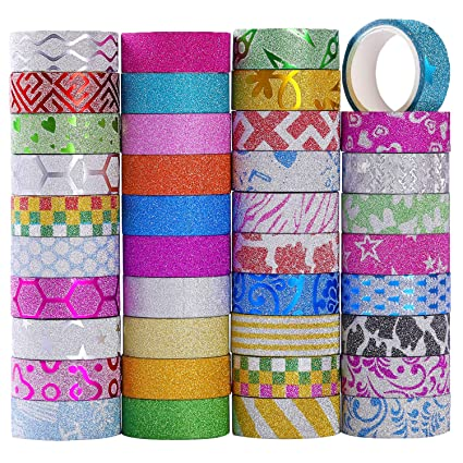 Amazon Com Monico 39 Glitter Washi Tape Craft Decorative Tape Great