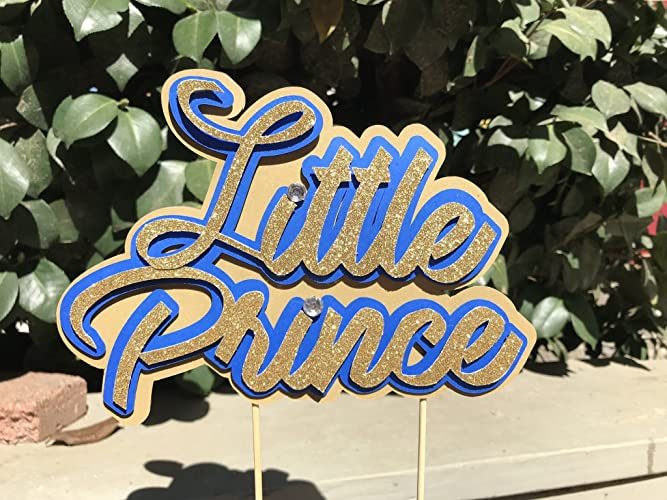 Amazon Com Little Prince Theme Royal Blue And Gold Cake Topper