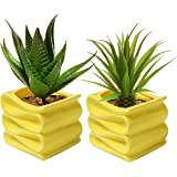 MyGift Set of 2 Modern Decorative Folded Design Small Ceramic Plant Pot / Flower Planter - Yellow