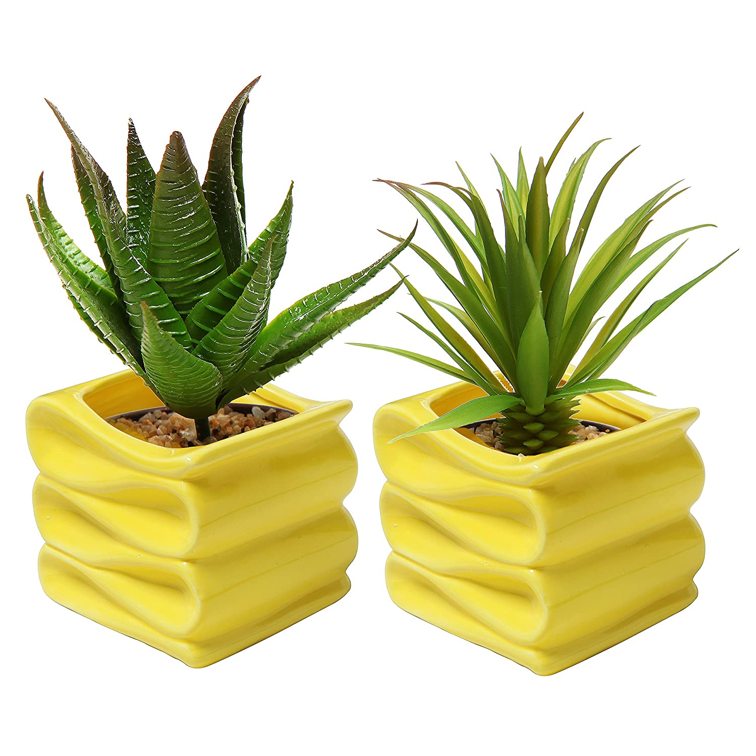 MyGift Set of 2 Modern Decorative Folded Design Small Ceramic Plant Pot/Flower Planter - Yellow