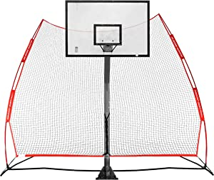 Rukket Basketball Return Net Guard and Backstop, Hoop Rebound Back Netting Attachment for Yard, Home & Residential Use, Barrier System for Safety and Retention