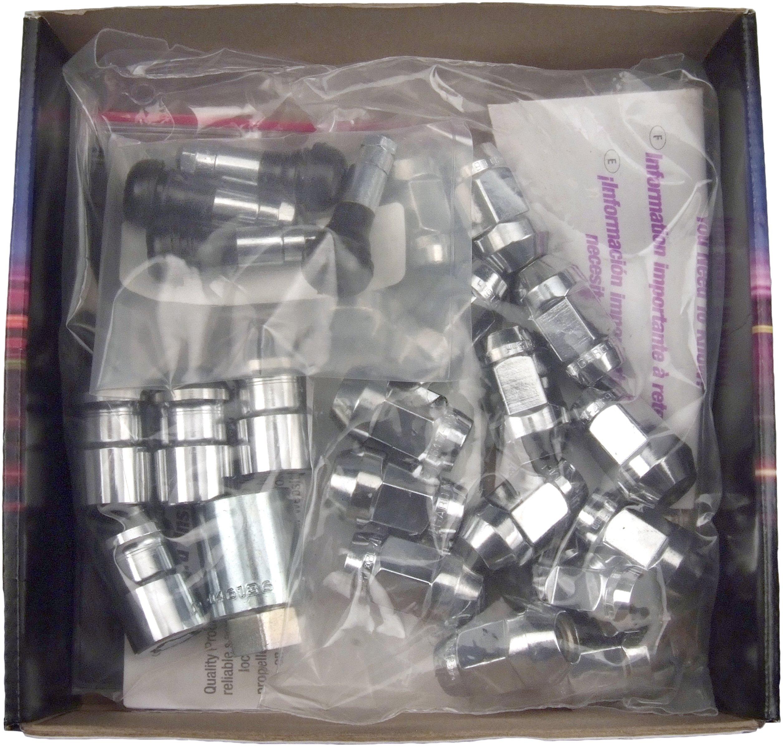 McGard 84537 Chrome Bulge Style Cone Seat Wheel Installation Kit (M12 x 1.5 Thread Size) - For 5 Lug Wheels