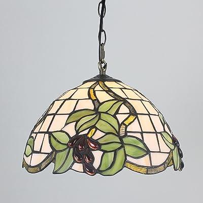 12 Pouces Vintage Pastoral Raisin Vitraux Plafond Lampe Pendante Lampe Living Room Lumière Couloir Lampe