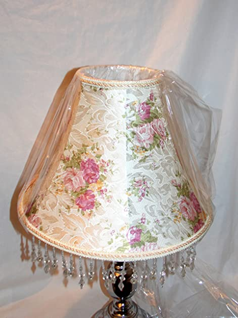 New victorian style pink rose floral pattern with decorative ribbon new victorian style pink rose floral pattern with decorative ribbon hanging beaded trim uno lamp aloadofball