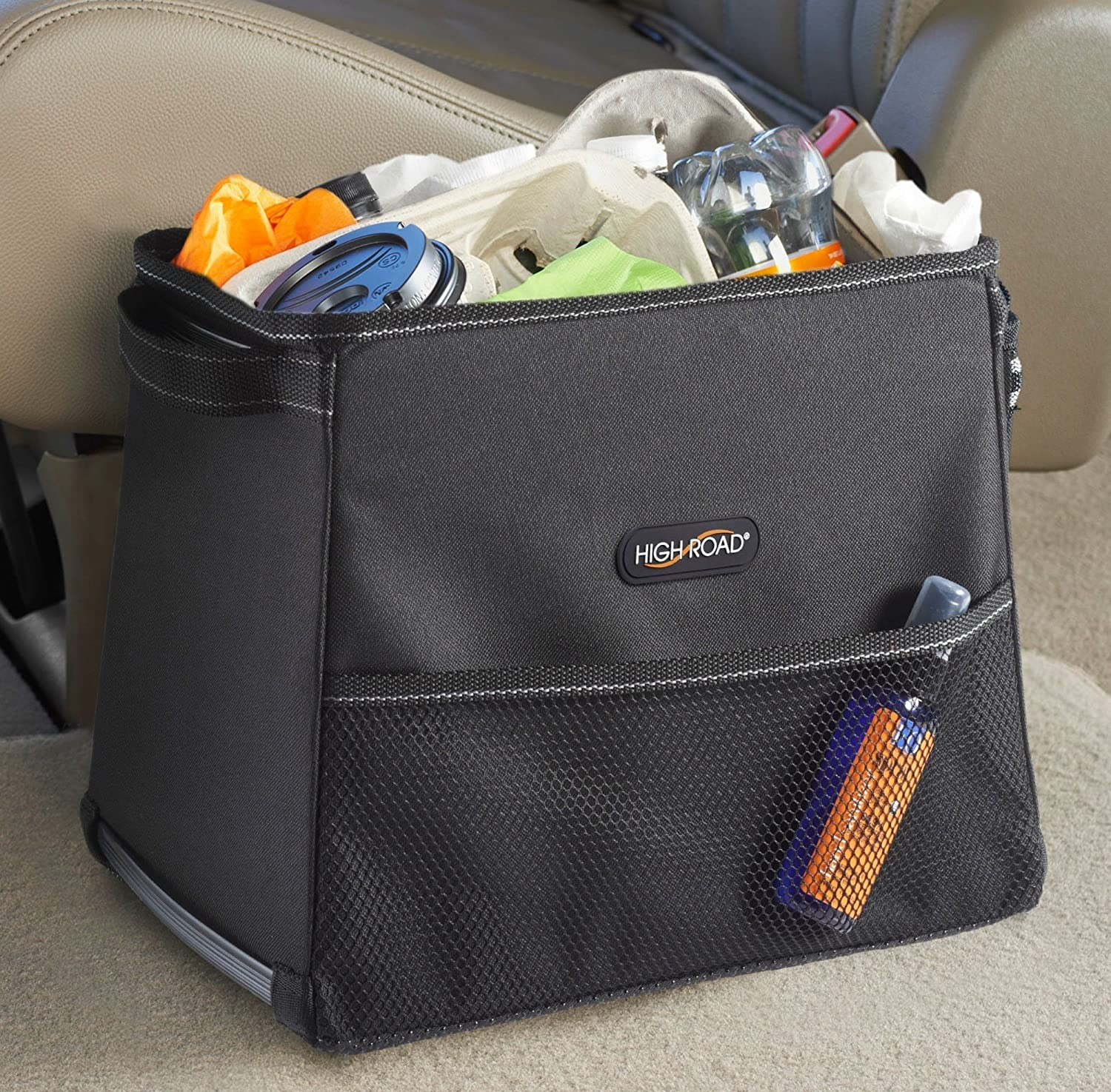 High Road StableMate Large Car Trash Can with Lid and Leakproof Lining High Road Organizers HR-TS-1006