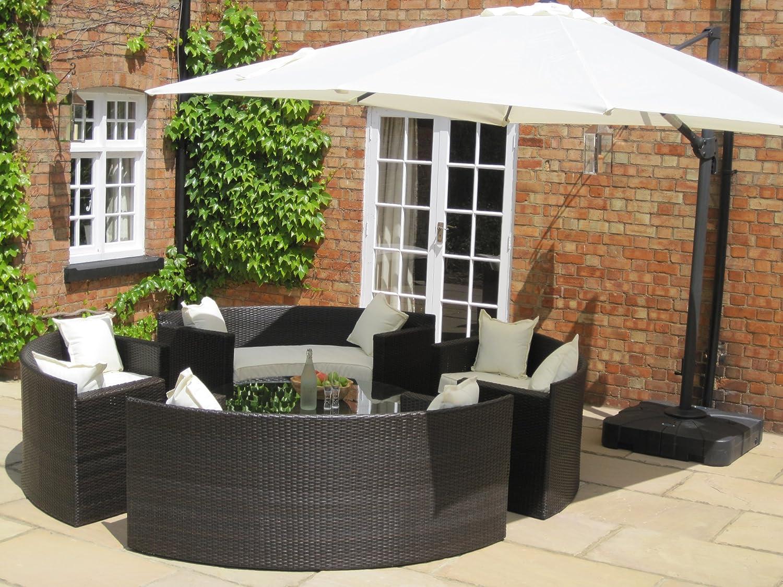 Lauren Luxury Grey Rattan Garden Furniture Circular Sofa And