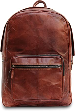 large backpack 17 inch Handmade leather backpack School College laptop backpack Rucksack