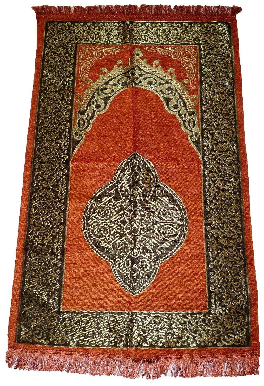 AMNrug Islamic Prayer Rug - Muslim Prayer Mat Sajadah Carpet - Orange Muslim Rug