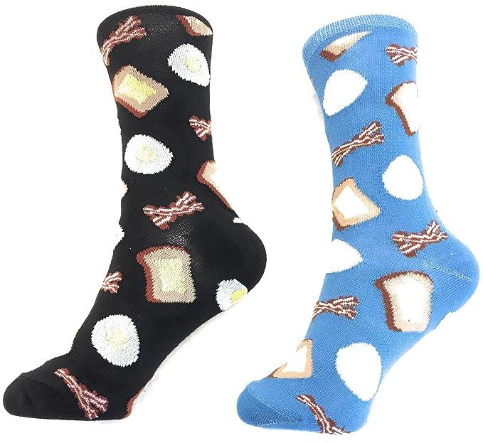 Socks-2 Pack Bacon   Eggs Crew Socks for Women. Fun 59fede47b4