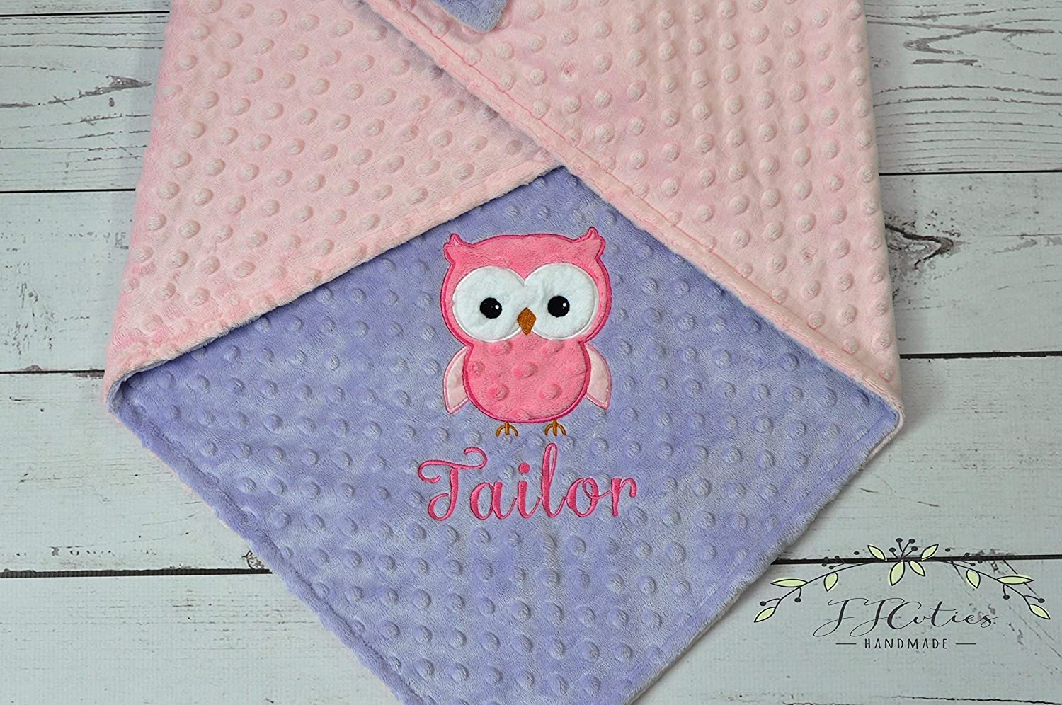Owl Chevron /& Minky Personalized Minky Baby Blanket with Embroidered Owl