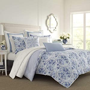 Laura Ashley Mila Comforter Set, Twin, Blue