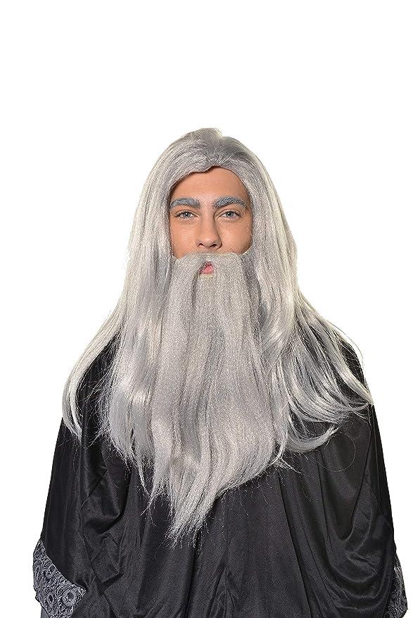 "Long Wizard Beard and hair Facial Hair fancy dress Costume Wizard 24/"" Long Grey"
