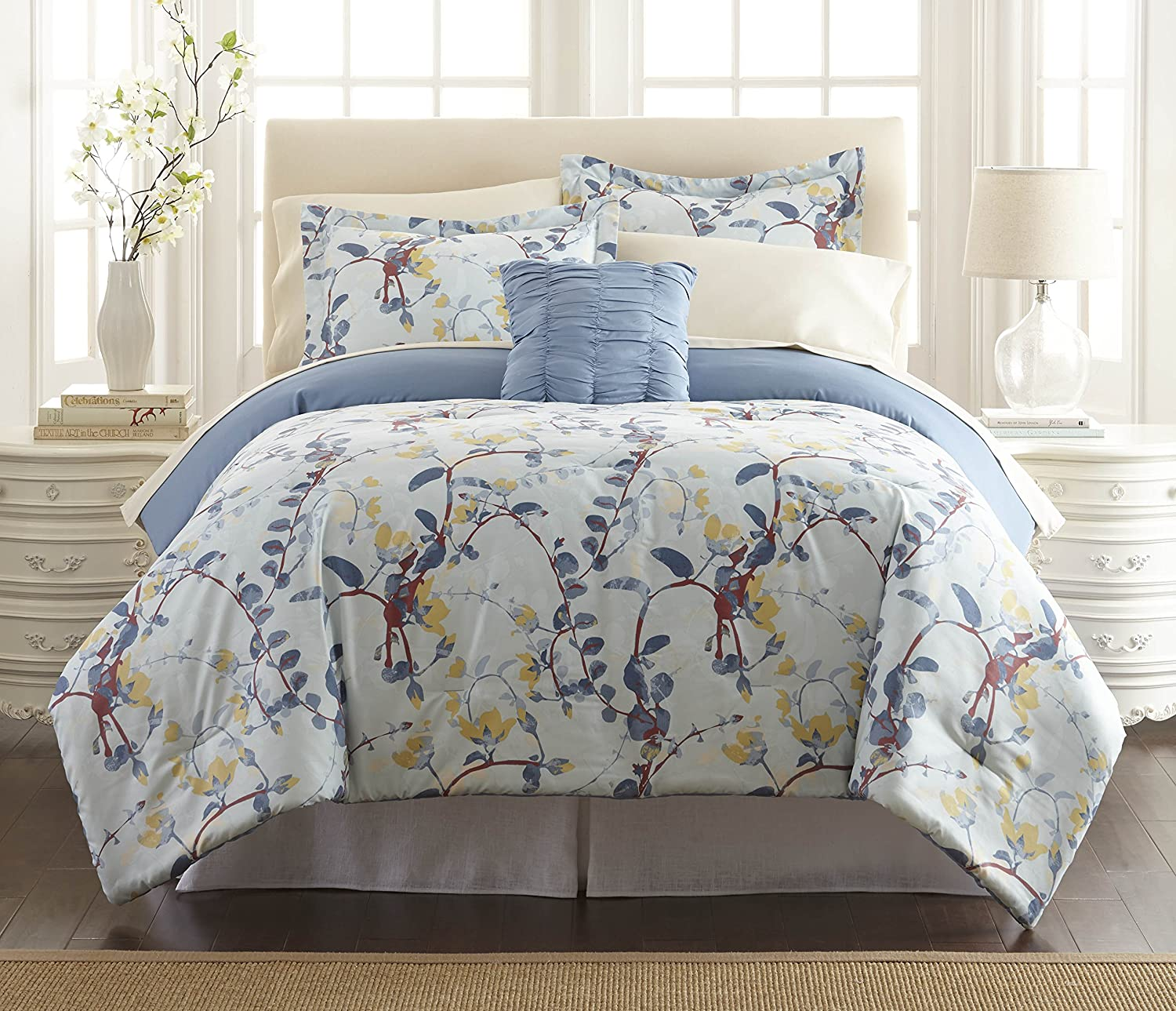 Amrapur Overseas 4BNB68RG-LCA-FL 8 Piece Lucia Printed Reversible Bed In A Bag, Full