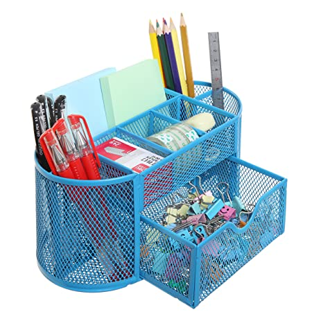 8 Compartment Metal Wire Desktop Office School Supplies Organizer Caddy  With Pullout Drawer, Blue