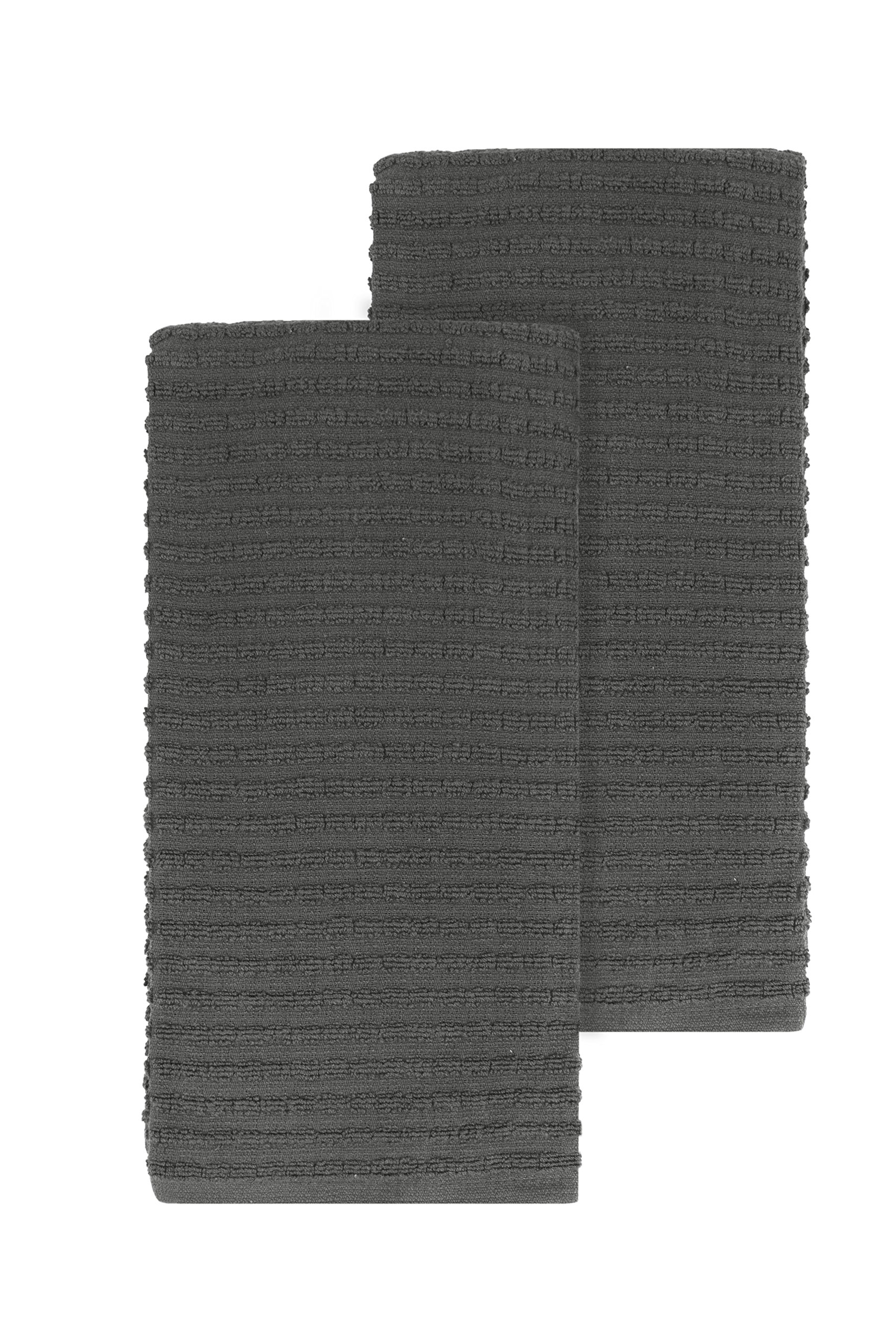 Ritz Royale Collection 100% Combed Terry Cotton, Highly Absorbent, Oversized, Kitchen Towel Set, 28'' x 18'', 2-Pack, Solid Graphite