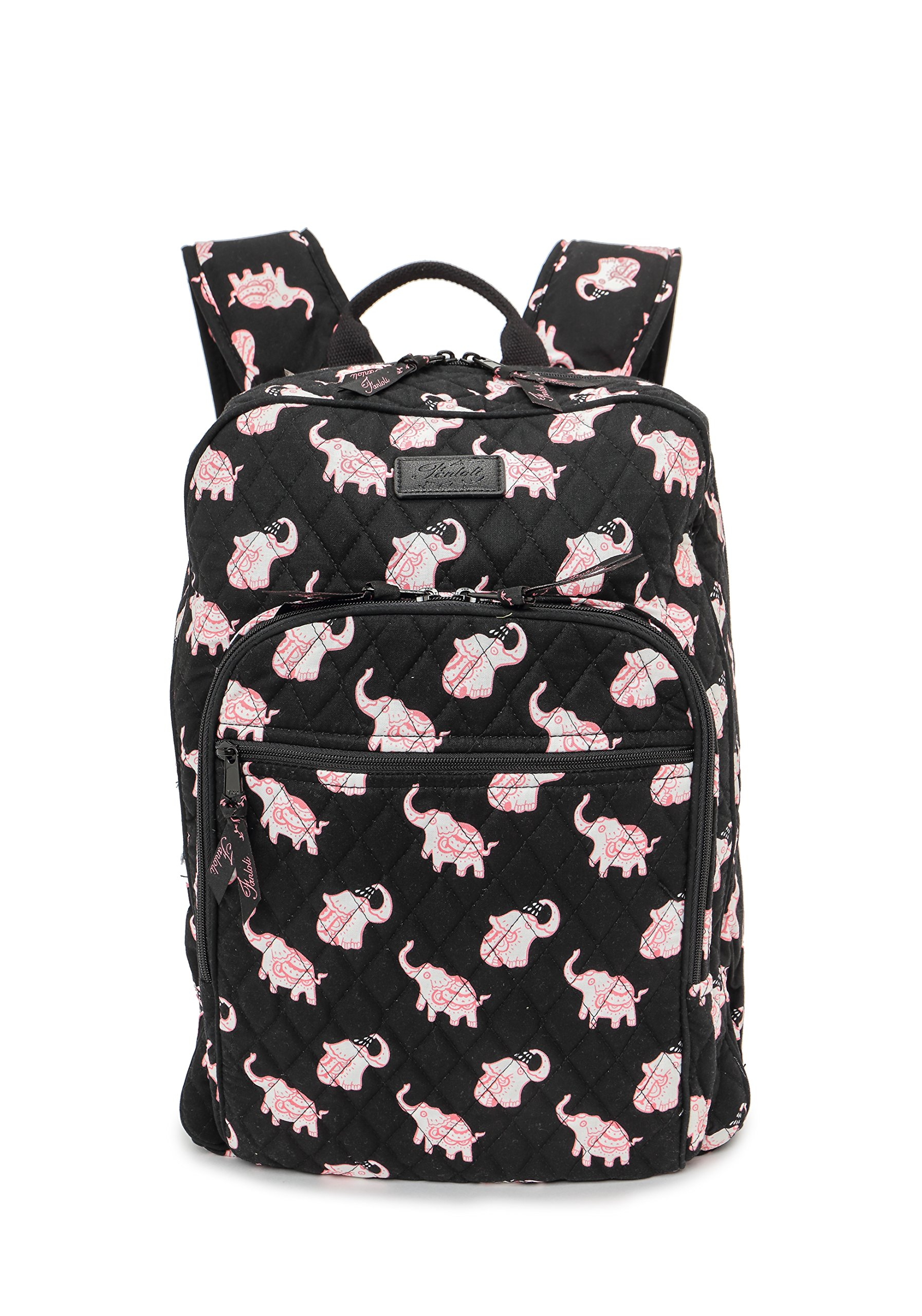 Fanloli Quilted Cotton College Travel Backpack in Happy Elephant