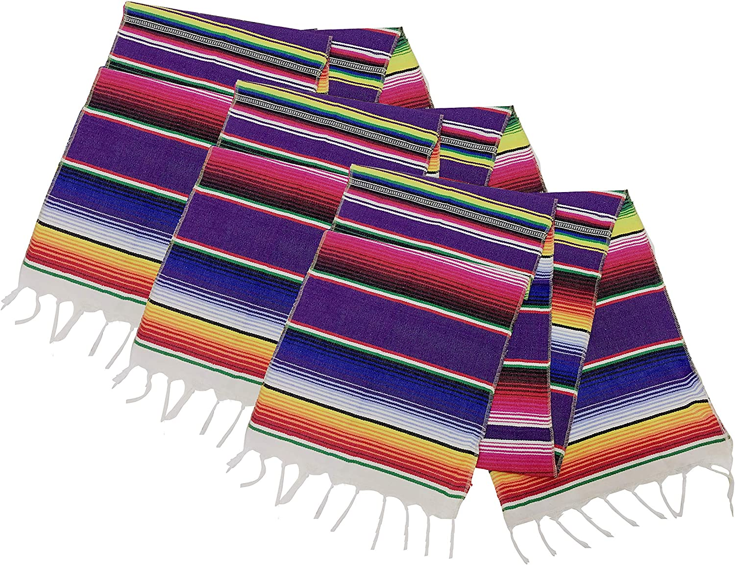 Neasyth Zarape Table Runner Mexican Serape Runners Chakra Tassel Handmade Tablecloth Mexican for Party Wedding Christmas Decorations 14 x 84 in (3 PCS)